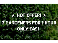 2 Gardeners for 1 hour = ONLY £49! Book Gardening Now!