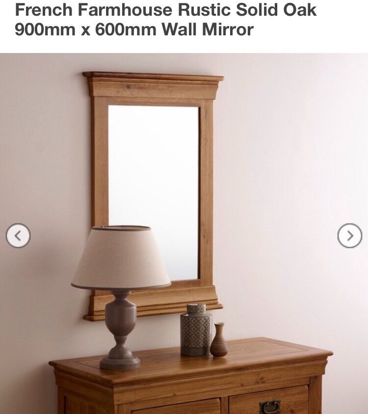 Oak Furniture Land French Farmhouse Solid Oak Mirrorin Tuffley, GloucestershireGumtree - Oak Furniture Land Solid Oak French Farmhouse Mirror. Still in store retailing for £89 900mm x 600mm Very good condition. No packaging. Buyer to collect from Gloucester. However can arrange collection from Kidderminster or Worcester too