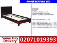 BRAND NEW SINGLE LEATHER BED WITH MATTRESS Fiatt