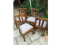 Solid oak Dining chairs x4 all fully reconditioned recovered and waxed