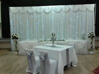 DELUXE WEDDING STARLIGHT BACKDROP,TWINKLE SKIRT AND CHAIRS COVER PACKAGE 100 GUESTS
