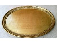 New Luxury Oval Tray: Gold Distressed Marble Effect & Embossed Tray: Italian Design. Tableware