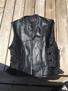 Men's leather biker vest (swat)