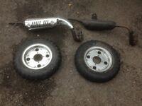 Monkey bike parts/ wheels/ exhausts Came from Hongdu 110