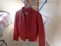 girls/ladies red leather jacket size 12