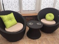 2 modern conservatory chairs availbale with small table