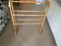 Towel rail. Free standing wooden towel rail