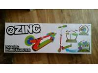 Kids Zinc Inline Folding Scooter Unisex BRAND NEW IN BOX