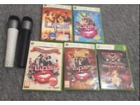 Karaoke Lips games Xbox 360 with 2 mics collectors items. Games are in great working order. £20