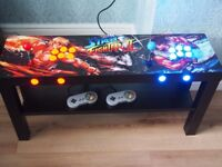 2 PLAYER ARCADE COFFEE TABLE WITH ARTWORK & 1000's OF ARCADE, NES, SNES, M'SYSTEM & MEGADRIVE GAMES