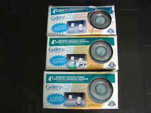"""3 Gallery 4"""" stainless steel recessed lights- bulbs included"""
