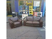 Small 3 seater sofa and armchair in brown leather
