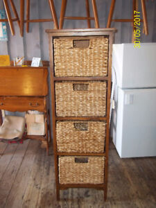 Wicker Shelving Unit with Wooden Frame and Four Wicker Drawers