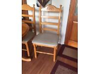 4 hardwood dining chairs with cushion