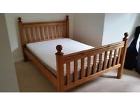 Solid wood double bed frame + mattress by Ikea