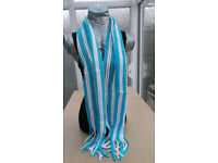 Blue and White Tassel Scarf.