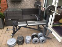 Maxi Muscle multi function bench and 80kg of weights