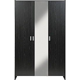New Capella 3 Door Mirrored Wardrobe - Black Effect