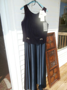 NEW NAVY VELVET SATIN LONG DRESS with Tags Jessica McClintock