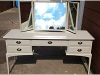 Stag dressing table with triple mirror in Annie Sloan 'Paris Grey'