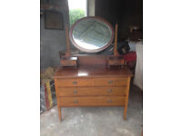 Vintage dressing table with oval mirror