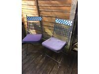 pair of mosiac garden chair / wrought iron patio chairs £15