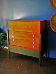 Refinished Mid-Century Walnut Tallboy Dresser