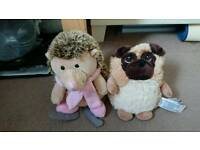 Microwave hedgehog and pug teddies new