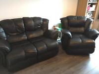 Black Leather Fully Reclining Armchair & 2 Seater Sofa
