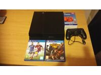sony playstation 4 ps4 with 1 controller a docking sation and 5 games