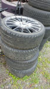 Set of 4 205/40r17 tires on 4x100 4x114.3 multi pattern motegi