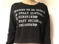 New look black baggy top age 14-15 size 6 cute word print teen fashion unicorn oversized sweater top