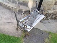 Grandpa project!! childs kids garden bench wrought iron, wood needs replacing (Brighouse)