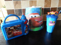 Cars lightshade, small lunch box and drinks container (both unused) - Dereham location