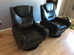 Pair of leather power recliners, vibrating/heated/folding table