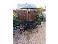 Garden patio 8 piece set/table/parasol