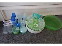 Mam baby bottles and microwave steriliser.