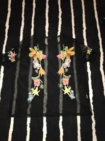 ZARA sheer black top with colourful embroidered flowers