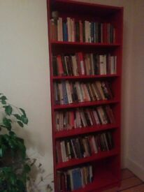 Two red Billy book shelves for free