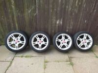 16 INCH ALLOY WHEELS TYRES AND ROAD WORTH TYRES, FORD FIESTA, 4 PIN, GOOD CONDITION