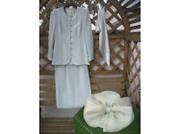 Mother of Bride Suit and Hat in Pale Mint Green size 12 by TOM BOWKER for COTERIE
