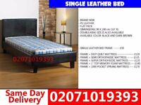 **70 % OFF** BRAND NEW SINGLE LEATHER BED WITH MATTRESS Plainfield