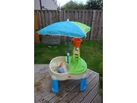 Step 2 Sand and Water Table with toys and Umbrella