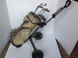 Golf clubs with bag & cart