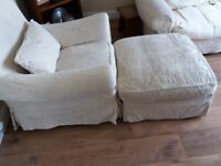 Wingback armchair and footstool