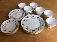 Fab vintage tea set, 6 tea plates,salad plates, cup and saucer, colclough china, linden pattern