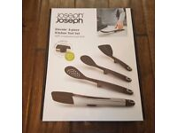 Joseph Joseph Elevate Utensils Set with Tongs, Steel, Grey, Set of 4 BNIB