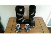 Wulf motorcycle boots and gloves