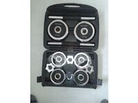 Dumbells, Chrome, NEW, John Lewis, 20kg with protective carry case, cost £85.
