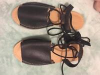 Topshop Black tie up leg sandals